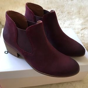 BP Nordstrom Leather Wine Booties Size 7.5